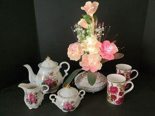 Fiberoptic Lamp, Sugar, Cream & Tea Pot, .etc.