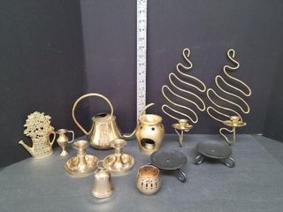 Misc. Brass Candle Holders, Water Can, Dinner Bell