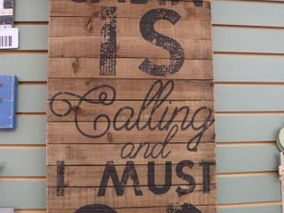 CABIN CAllING WOOD SIGN   16  X 36