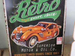 RETRO PARTS SHOP METAl SIGN   12  X 16