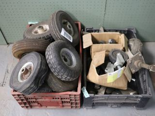 2 BOXES OF ASSORTED WHEElS   TIRES