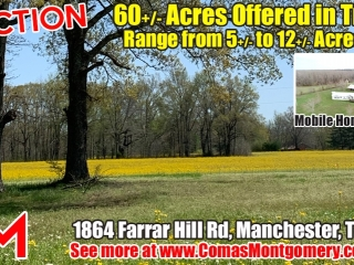 60+/- Acres Offered in Tracts - Range from 5+/- Acres to 12+/- Acres Each - Mobile Home & Barn