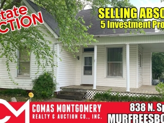 SELLING ABSOLUTE - Online Estate Auction featuring 3 BR Home in Downtown Murfreesboro at 838 N. Spring St