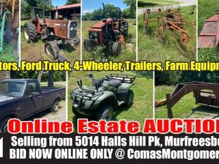 ONLINE EQUIPMENT AUCTION - John Deere and Massey Ferguson Tractors, Ford F-150 Truck, 4 Wheeler, Trailer, Farm Equipment and More