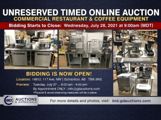 Commercial Restaurant & Coffee Equipment Unreserved Timed Online Auction