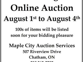 Online Auction August 1 to August 4