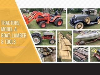 Tractors, Model A, Boat, Lumber & Tools