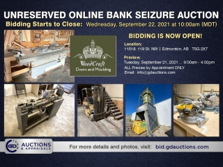 WoodCraft Doors and Moulding Unreserved Online Bank Seizure Auction